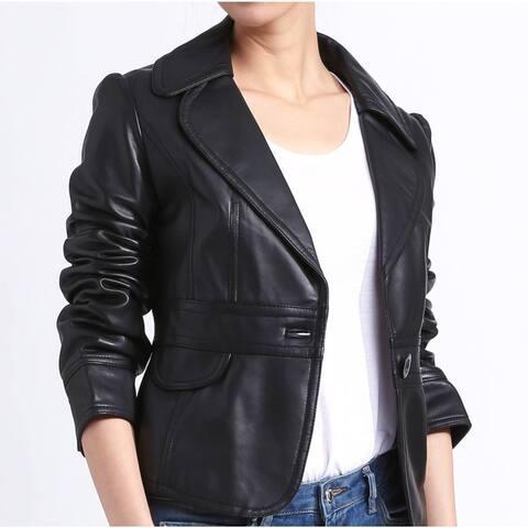 Women's Black Leather Blazer Jacket