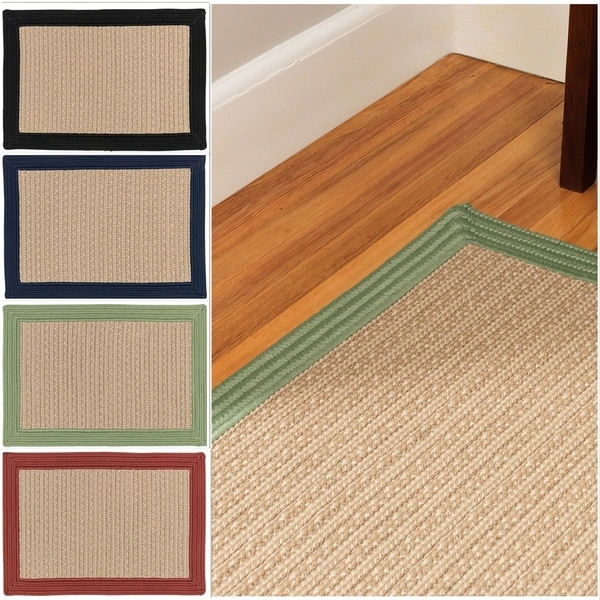Textured Border Indoor/Outdoor Braided Reversible Rug USA MADE - 8 x 10