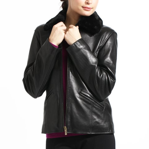Women's Black Leather Detachable Faux-fur Collar Jacket