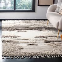 Safavieh Kenya Contemporary Hand-Knotted Ivory/ Grey Wool Rug - 6' x 9'