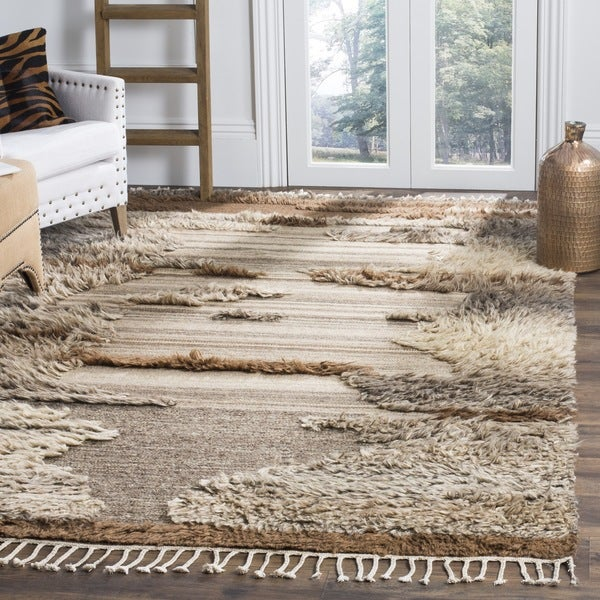Safavieh Kenya Contemporary Hand-Knotted Grey/ Brown Wool Rug - 6' x 9'