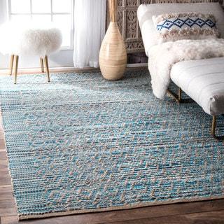 nuLOOM Bohemian Handmade Flatweave Blue Rug (5' x 8')