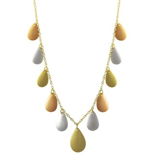 Luxiro Tri-color Gold Finish Teardrops Station Necklace - Silver