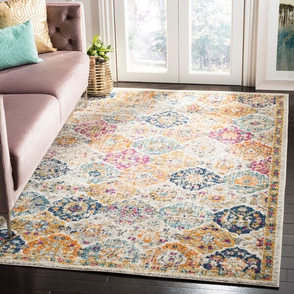 "Safavieh Madison Avery Boho Vintage Cream/ Multi Distressed Rug - 6'7"" x 9'2"""