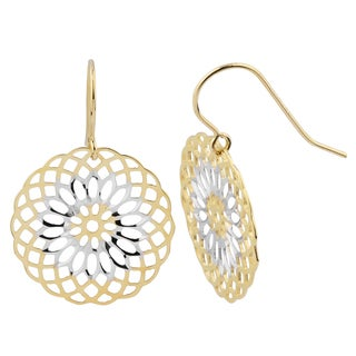Fremada 14k Two-tone Gold Round Floral Dangle Earrings