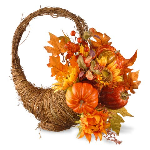 Autumn/Thanksgiving/Holiday Maples and Pumpkins Cornucopia Basket Decor