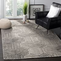 Safavieh Handmade Mirage Mid-Century Light Grey/ Charcoal Wool/ Viscose Rug (6' x 9')