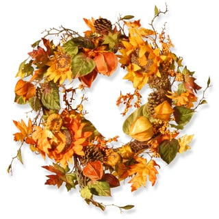 "Multicolored Autumn Sunflower Wreath (25"")"
