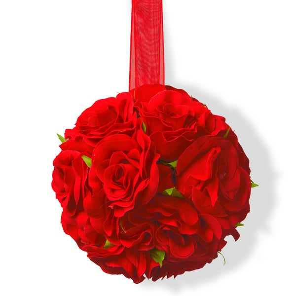 Red Fabric 5-inch Valentine Rose Ball Decor (Pack of 4)