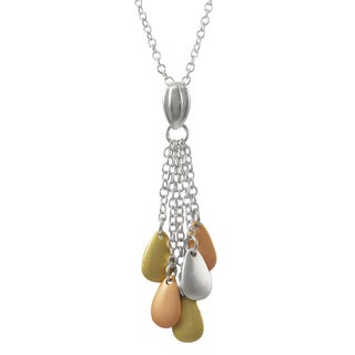 Luxiro Tri-color Sterling Silver Teardrops Tassel Pendant Necklace