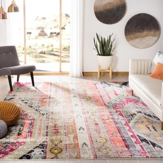 Safavieh Monaco Vintage Bohemian Light Grey / Multi Distressed Rug (5' 1 x 7' 7)