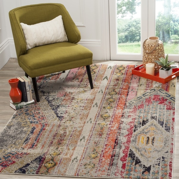 Safavieh Monaco Vintage Bohemian Light Grey / Multi Distressed Rug (6' 7 x 9' 2)