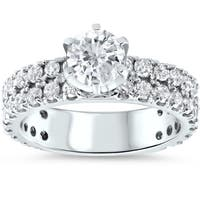 14k White Gold Gold 2 3/8ct Diamond Clarity Enhanced Pave Double Row Engagement Ring