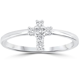 10k White Gold 1/6 cttw Diamond Cross Ring (I-J,I2-I3)