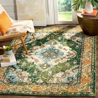 Safavieh Monaco Bohemian Medallion Forest Green/ Light Blue Distressed Rug (6' 7 x 9' 2)