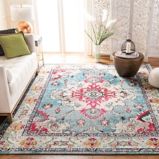 Safavieh Monaco Bohemian Medallion Light Blue/ Fuchsia Distressed Rug (6' 7 x 9' 2)