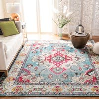 Safavieh Monaco Vintage Boho Medallion Light Blue/ Fuchsia Rug - 6' 7 x 9' 2