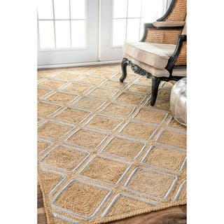 nuLOOM Trellis Jute Geometric Natural Rug (8'6 x 11'6) (Option: Natural)|https://ak1.ostkcdn.com/images/products/13268517/P19979669.jpg?impolicy=medium