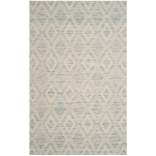 Safavieh Marbella Handmade Vintage Diamond Light Blue/ Ivory Wool Rug (5' x 8')