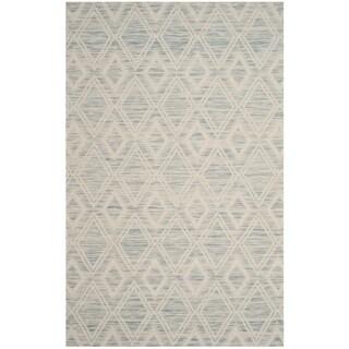 Safavieh Marbella Handmade Vintage Diamond Light Blue/ Ivory Wool Rug (6' x 9')