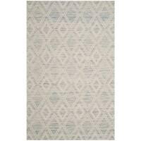 Safavieh Marbella Handmade Vintage Diamond Light Blue/ Ivory Wool Rug - 6' x 9'