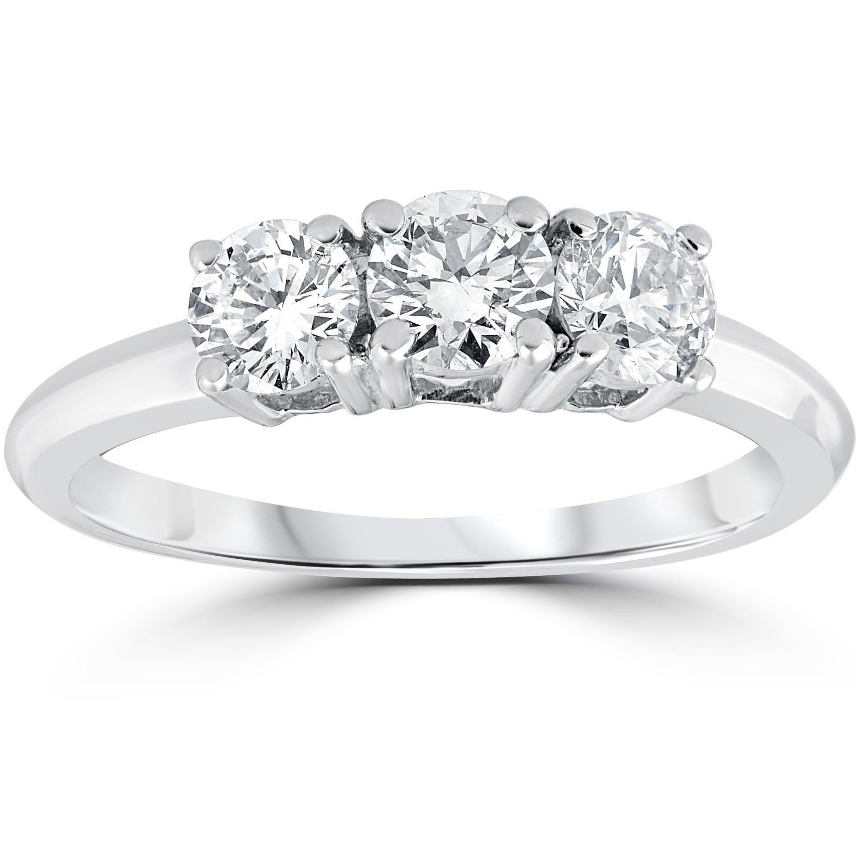 14K White Gold Plated Round Cut White CZ Diamond Engagement Wedding Three Stone Ring