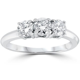 Link to 14k White Gold 1 Carat 3-Stone Diamond Engagement Ring Solitaire Round Cut Similar Items in Rings