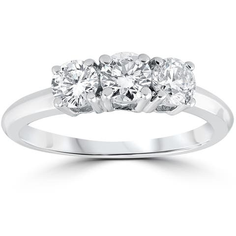 14k White Gold 1 Carat 3-Stone Diamond Engagement Ring Solitaire Round Cut