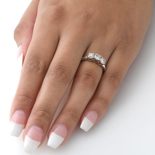 Shop 14k White Gold 1 Carat 3 Stone Diamond Engagement Ring Solitaire Round Cut On Sale Overstock 13270227