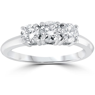 14k White Gold 1 Carat 3-Stone Diamond Engagement Ring Solitaire Round Cut (I-J, I2-I3)
