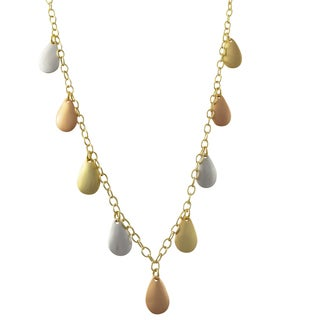 Luxiro Tri-color Sterling Silver Teardrops Station Necklace - Gold