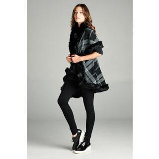 Spicy Mix Women's Jazlynn Faux Fur Plaid Knit Waterfall Cardigan Sweater