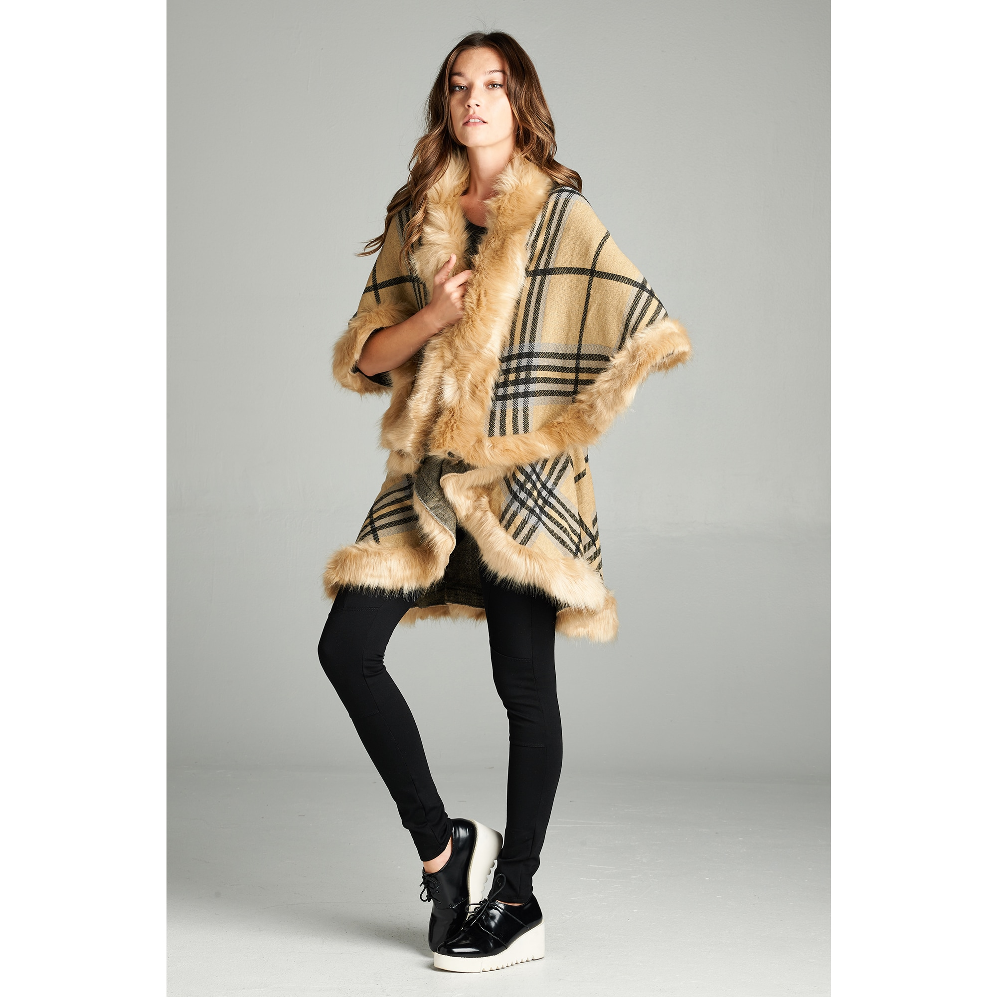 Spicy Mix Women's Jazlynn Faux Fur Plaid Knit Waterfall C...
