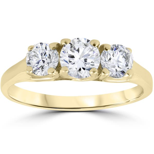 Shop 14k Yellow Gold 1ct Three Stone Diamond Engagement Womens