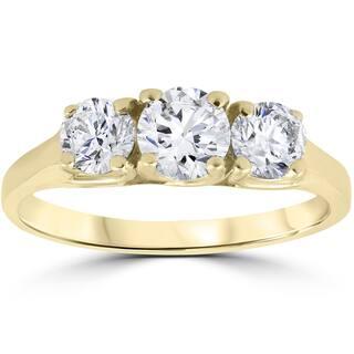 14k Yellow Gold 1ct Three Stone Diamond Engagement Womens Anniversary Ring