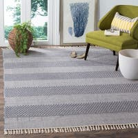 Safavieh Montauk Handmade Striped Flatweave Ivory/ Navy Cotton Rug - 6' X 9'