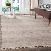 Safavieh Montauk Handmade Striped Flatweave Ivory/ Steel Grey Cotton Rug - 6' x 9'