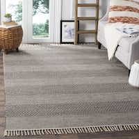Safavieh Montauk Handmade Striped Flatweave Ivory/ Anthracite Cotton Rug - 6' x 9'
