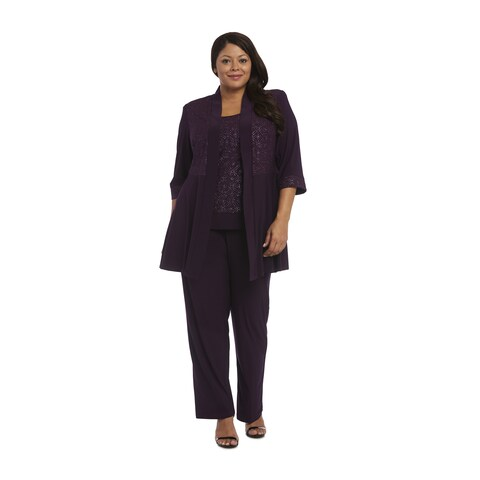 R&M Richards Purple Polyester/Spandex Plus Size Glitter Pant Set