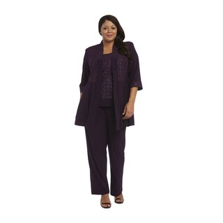 Rm Richards Purple Polyester Spandex Plus Size Glitter Pant Set
