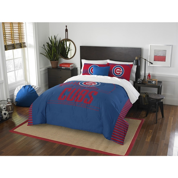 The Northwest Company Cubs Grand Slam Blue and Red Polyester Full/Queen 3-piece Comforter Set