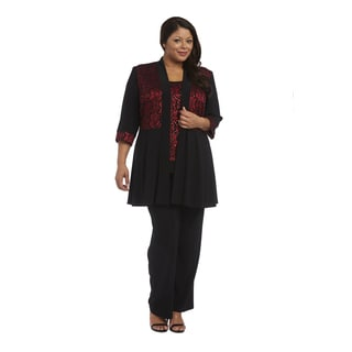 R M Richards Plus Size Vest Pant Set