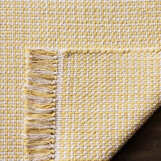 Safavieh Hand-Woven Montauk Flatweave Ivory/ Yellow Cotton Rug (5' x 8')