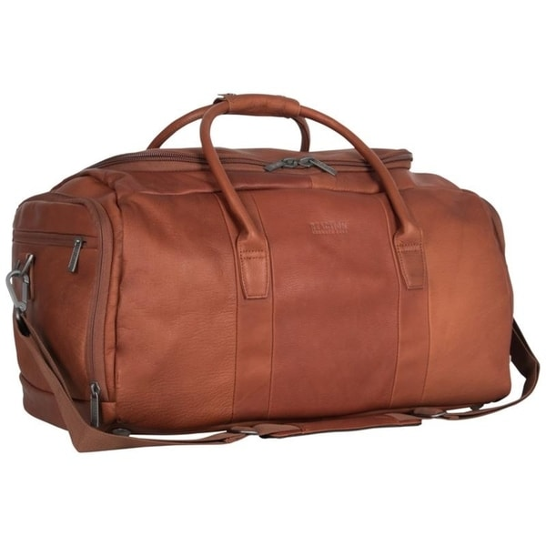 Kenneth Cole Reaction 20-inch Top Load Full-Grain Colombian Leather Multi-Compartment Duffel Bag / Travel Carry On. Opens flyout.
