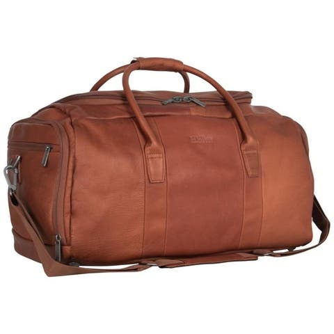 Kenneth Cole Reaction 20-inch Top Load Full-Grain Colombian Leather Multi-Compartment Duffel Bag / Travel Carry On