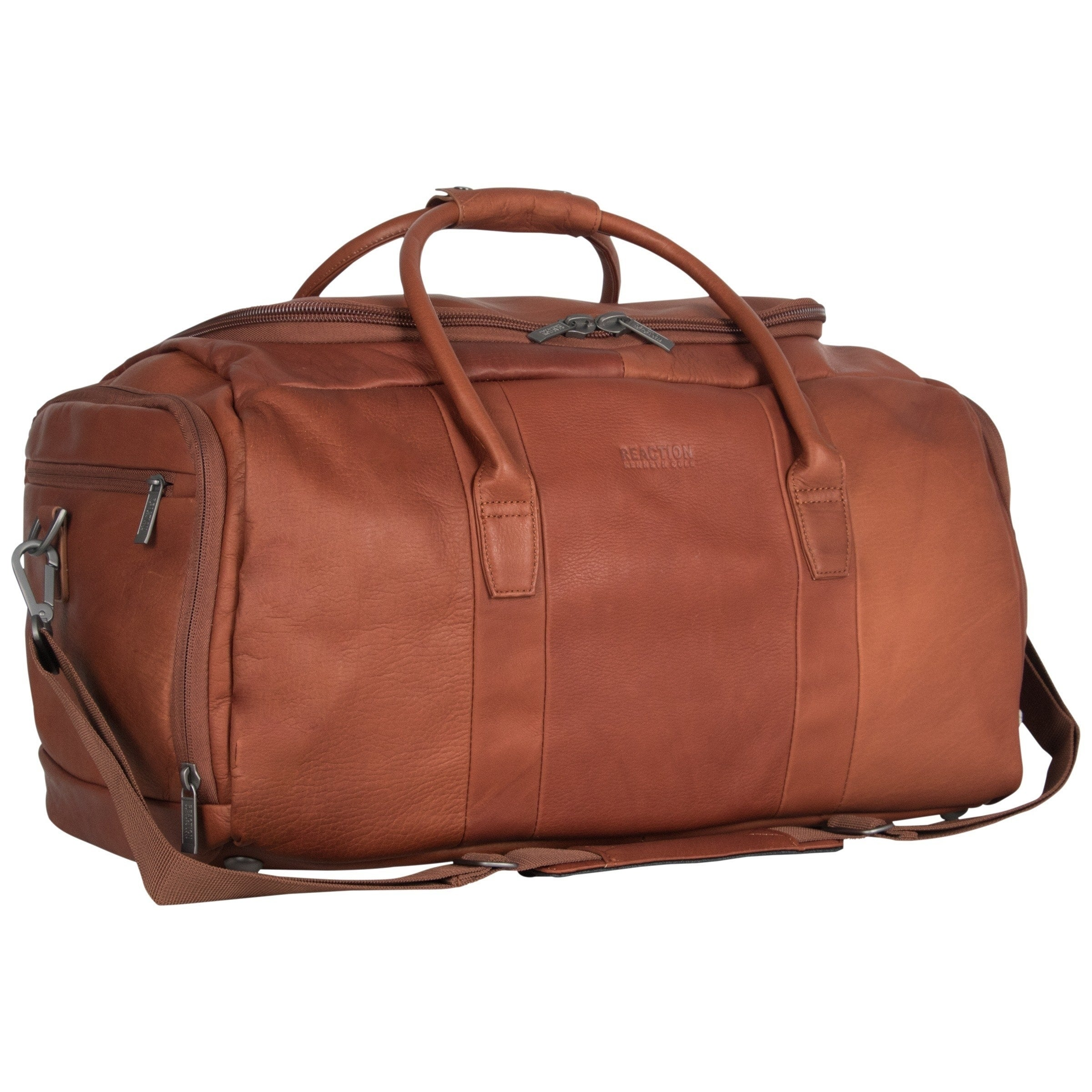 Kenneth Cole Reaction I Beg To Duff-er Full-Grain Colombian Leather Top Zip 20 Carry-On Duffel Travel Bag