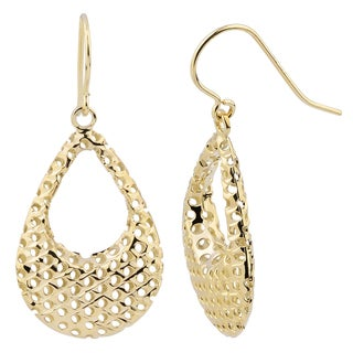 Fremada 14k Yellow Gold Puffed Teardrop with Cutout Design Earrings