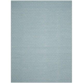 Safavieh Montauk Handmade Geometric Flatweave Ivory/ Turquoise Cotton Rug (5' x 8')