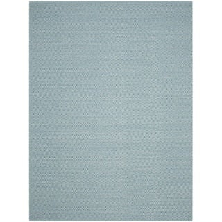Safavieh Hand-Woven Montauk Flatweave Ivory/ Turquoise Cotton Rug (6' x 9')
