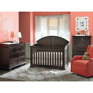 Kinston Espresso Acacia Wood and Metal 4-in-1 Convertible Crib